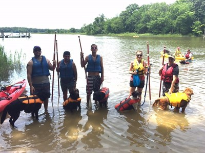 Veterans took their service dogs to Dundee Creek at Gunpowder Falls State Park for an afternoon of paddle boarding.