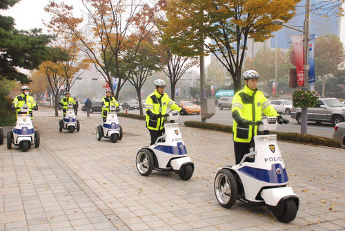 T3 Series Electric Stand-up Vehicle Supports Security Patrol at G20 Summit 2010 Seoul, South Korea.  (PRNewsFoto/T3 Motion, Inc.)
