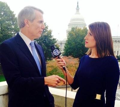 Washington Bureau Chief Policastro interviewing U.S. Senator Rob Portman for Gray's WTVG-TV in Toledo, Ohio.