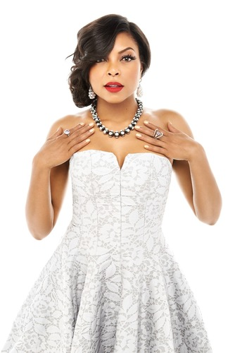 "2014 American Gem Trade Association Spectrum Awards(TM) jewelry worn by Taraji P. Henson. Pearl drop earrings by Baggins, Inc., ""The Octopus"" Pearl necklace by Hector Hassey, ""Aurora"" lavender Sapphire ring by CvB Designs and violet Spinel ring by My Goldsmith, Ltd. Pale blue, strapless lace dress by Halston (available at Saks Fifth Avenue). Photo by Brian Bowen Smith. Styled by Tod Hallman.  (PRNewsFoto/American Gem Trade Association)"