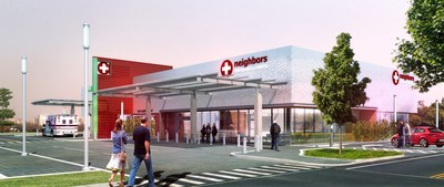 A daytime rendering of the new Neighbors Emergency Center prototype building, designed by HKS Architecture, opening in Texarkana, TX in July 2016.