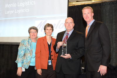 (L to R) Leila Cook, Associate Director of the Office of Transportation and Air Quality (OTAQ); Janet McCabe, Acting Assistant Administrator, EPA;  Mike Greene, Vice President, Operations, Menlo Logistics;  Nick Caragher, Senior Director, Transportation, Menlo Logistics