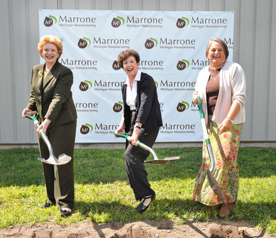 Groundbreaking ceremony of the Marrone Michigan Manufacturing facility in Bangor, Michigan. Senator Debbie Stabenow (left), Marrone Bio Innovations CEO Pam Marrone (center), Bangor Mayor Jennifer Carpio-Zeller (right).  (PRNewsFoto/Marrone Bio Innovations, Inc.)