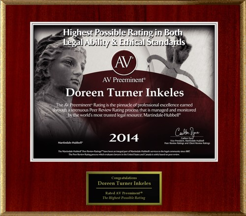 Attorney Doreen Turner Inkeles has Achieved the AV Preeminent(R) Rating - the Highest Possible Rating from ...