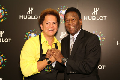 Pop artist and Ambassador to 2016 Rio Olympic Games, Romero Britto, with legendary Brazilian soccer player, Pele.