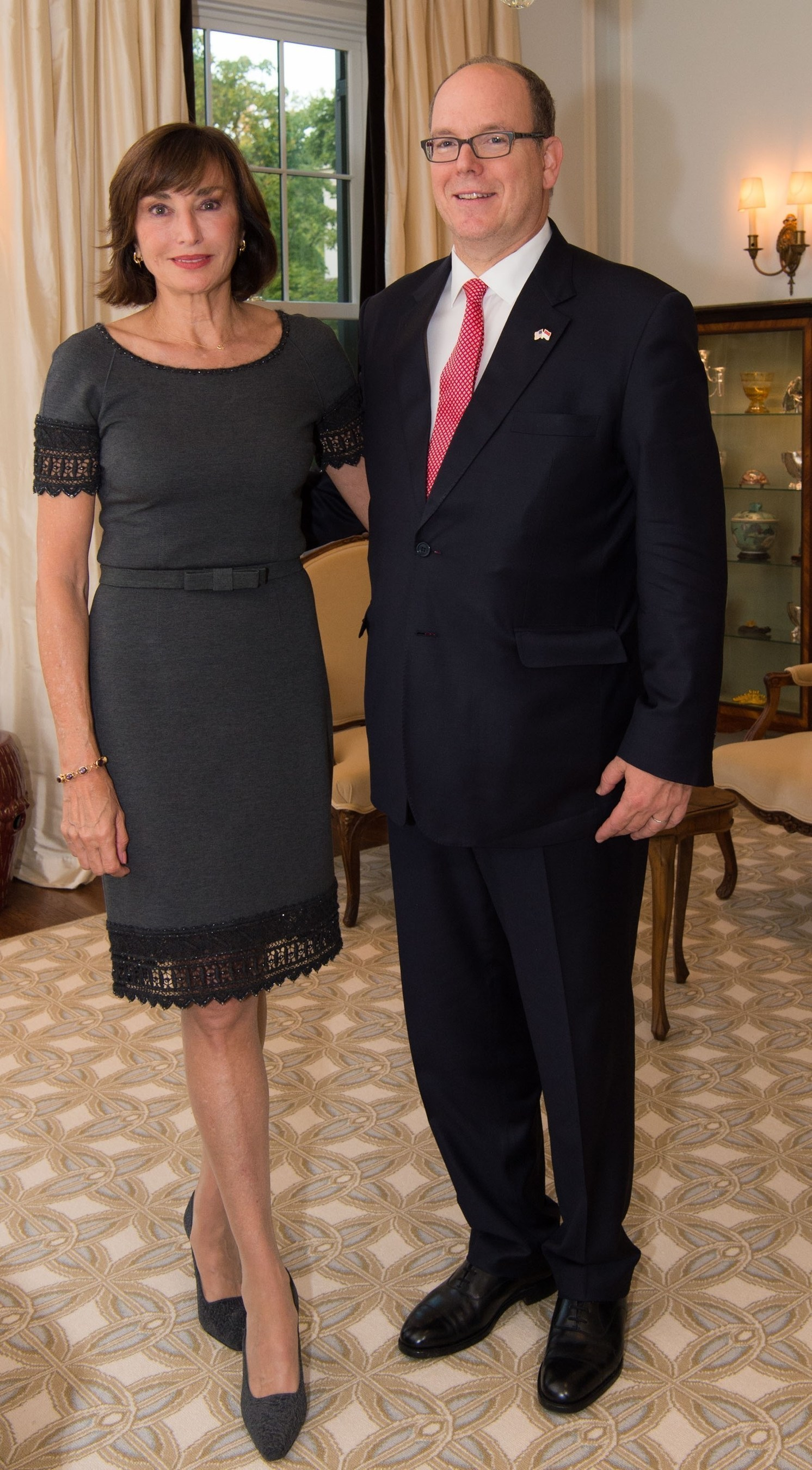 Celebrating the 10th anniversary of the opening of the Principality of Monaco's embassy in Washington, D.C., His Serene Highness Prince Albert II of Monaco with Monaco's Ambassador to the United States, Her Excellency Maguy Maccario Doyle on 22 September, 2016. (c) Palais Princier/G. Luci
