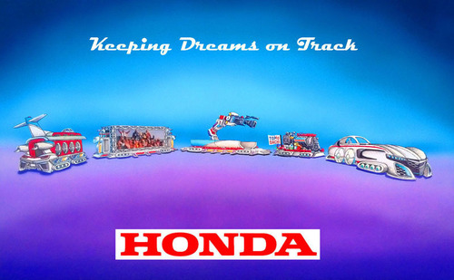 """Honda's float, """"Keeping Dreams on Track"""" leads off the Rose Parade in Pasadena, Calif., on New Years Day, Jan. 1, 2014. The float, designed as a dream-like train, is the longest in the 125 year-history of the parade, measuring an unprecedented 274 feet. The float is powered by a specially-configured Honda hybrid engine and features re-creations of the Acura NSX sports car, HondaJet and ASIMO, the world's most advanced humanoid robot. (PRNewsFoto/American Honda Motor Co., Inc.) (PRNewsFoto/AMERICAN HONDA MOTOR CO., INC.)"""