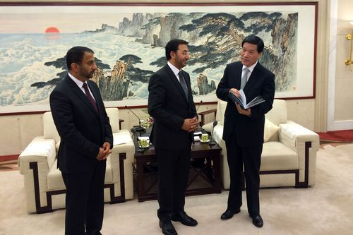 His Excellency Abdulla Al Saleh and Ibrahim Mohamed Aljanahi, with His Excellency Xia Geng, during their meeting (PRNewsFoto/Jafza)