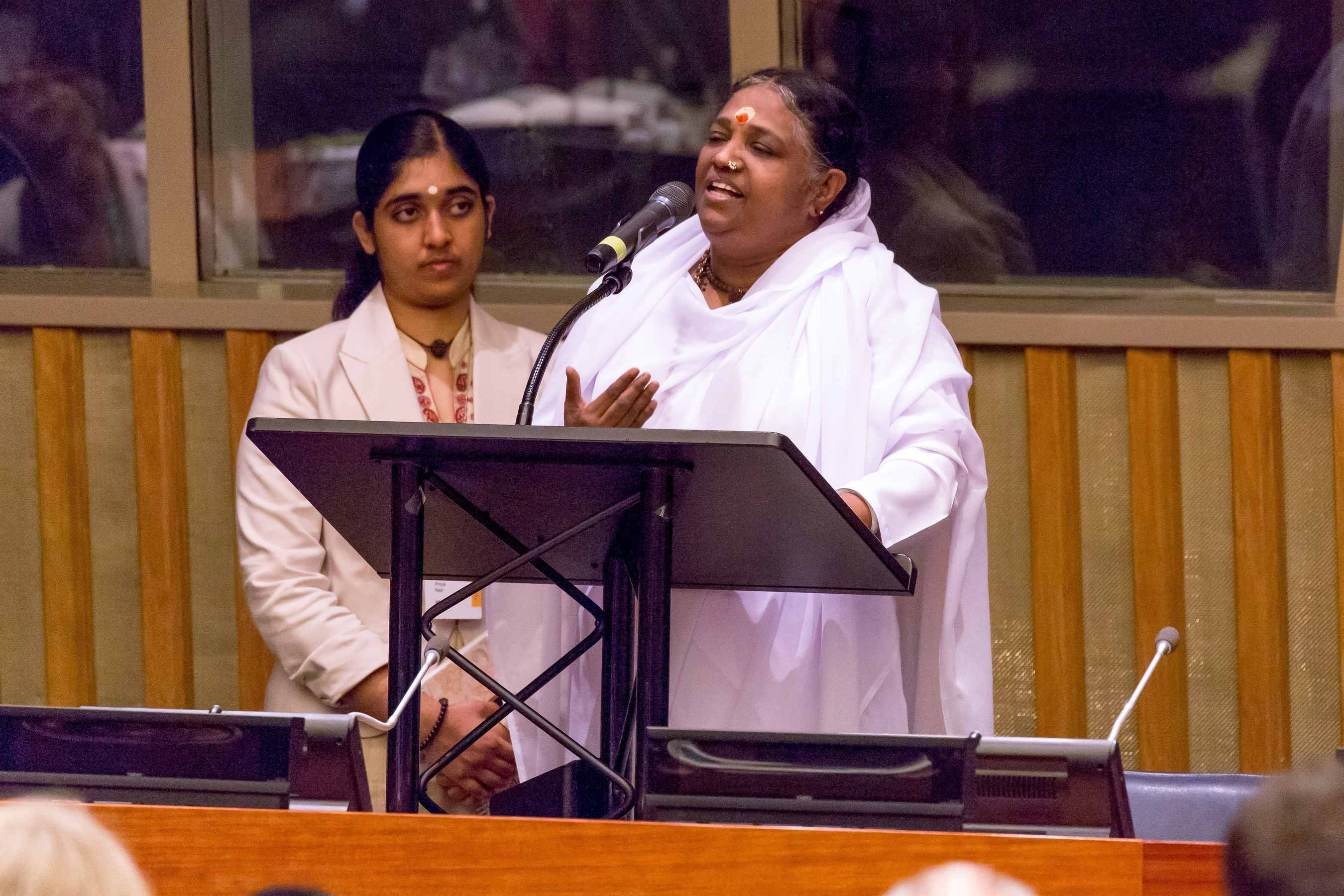 July 8, New York, Spiritual leader and humanitarian Mata Amritanandamayi (Amma) delivers an address at a United Nations Academic Impact conference on technology for sustainable development, co-hosted by Amrita University. She urged the scientific community to keep in mind the upliftment of the poor and suffering when conceptualizing their research.