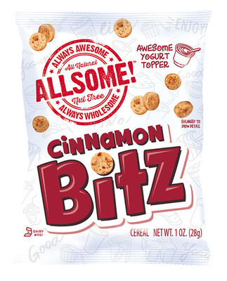 Introducing Allsome! Cinnamon Bitz - a nut-free granola alternative with a crunchy cinnamon flavor that kids and school administrators alike will love as a safe and delicious solution for school breakfast, lunch or snacking.