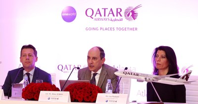 Qatar Airways holds press conference to mark the start of the airline's Atlanta route launch on June 1. Qatar Airways Group Chief Executive, His Excellency Mr. Akbar Al Baker (centre), Qatar Airways Vice President Americas - Gunter Saurwein (left) and Country Manager - USA, Lisa Markovic in Atlanta earlier today.