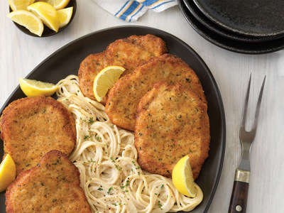The National Pork Board created a custom Facebook bot that provides pork fans with great-tasting recipes - like this Pork Milanese with Cacio e Pepe Spaghetti - to match whatever is on their holiday agenda.