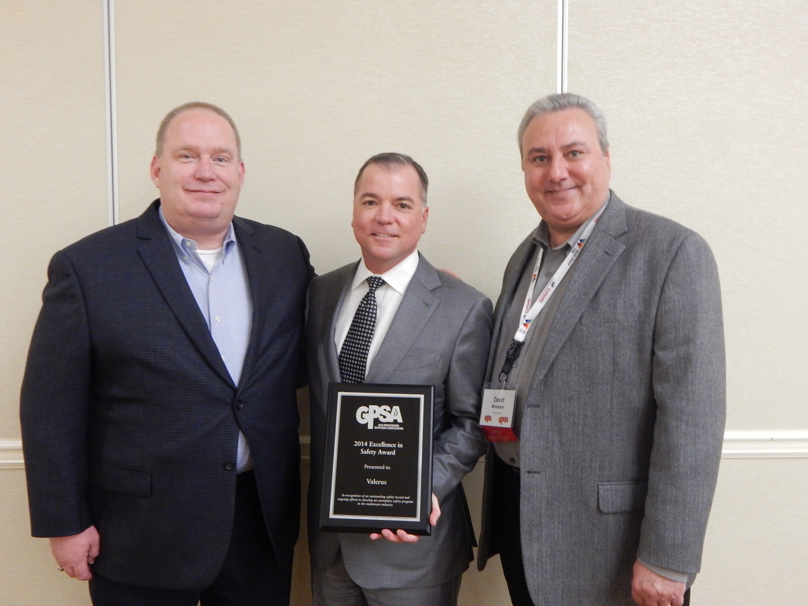 Valerus has been awarded a Gas Processors Suppliers Association Company Safety Award. Pictured from Valerus: Roger Lemke, Director of Health and Safety; Jim Gill, Chief Operating Officer; and David Mirdadian, Director of Business Development Processing and Treating.
