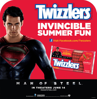 Now through July 6, 2013, fans can visit www.Facebook.com/Twizzlers to create and star in a personalized Man of Steel-inspired video. In just five easy interactive steps, users can watch their epic transformation unfold in a custom video and also have the chance to win one of ten weekly prizes as well as the grand prize – the Ultimate Man of Steel Getaway.