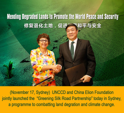 """UNCCD and China Elion Foundation jointly launched the  """"Greening Silk Road Partnership"""" today in Sydney,a programme that combats land degration and climate change."""