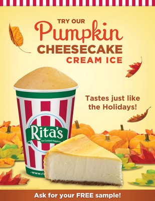 Rita's Italian Ice Introduces NEW Pumpkin Cheesecake Cream Ice.  (PRNewsFoto/Rita's Italian Ice)