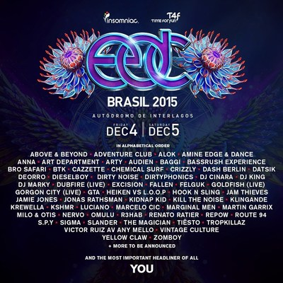 EDC Brazil Debuts Friday, December 4 and Saturday, December 5 at the Autodromo de Interlagos in Sao Paulo