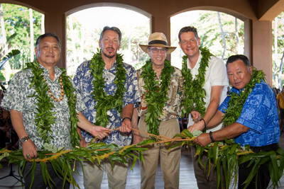 G. Riki Hokama, Committee Chair, Maui City Council, Lawrence Ellison, owner, Four Seasons Resorts Lanai, Isadore Sharp, Founder and Chairman, Four Seasons Hotels and Resorts, Tom Roelens, General Manager Four Seasons Resorts Lanai, and Maui Mayor Alan Arakawa at opening of Four Seasons Resort Lanai.