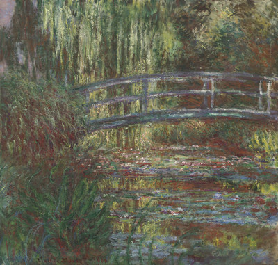 The water lily pond, 1900, by Claude Monet (French, 1840-1926). Oil on canvas. Museum of Fine Arts, Boston, Given in memory of Governor Alvan T. Fuller by the Fuller Foundation, 61.959. Photograph, 2015, MFA, Boston.