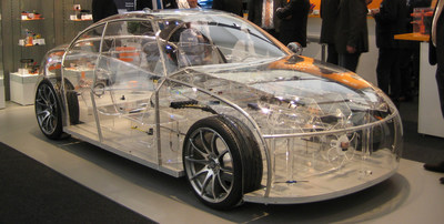 TE Connectivity's transparent car highlights the company's automotive solutions (connectivity, minaturization, safety, sensors, driver assistance)