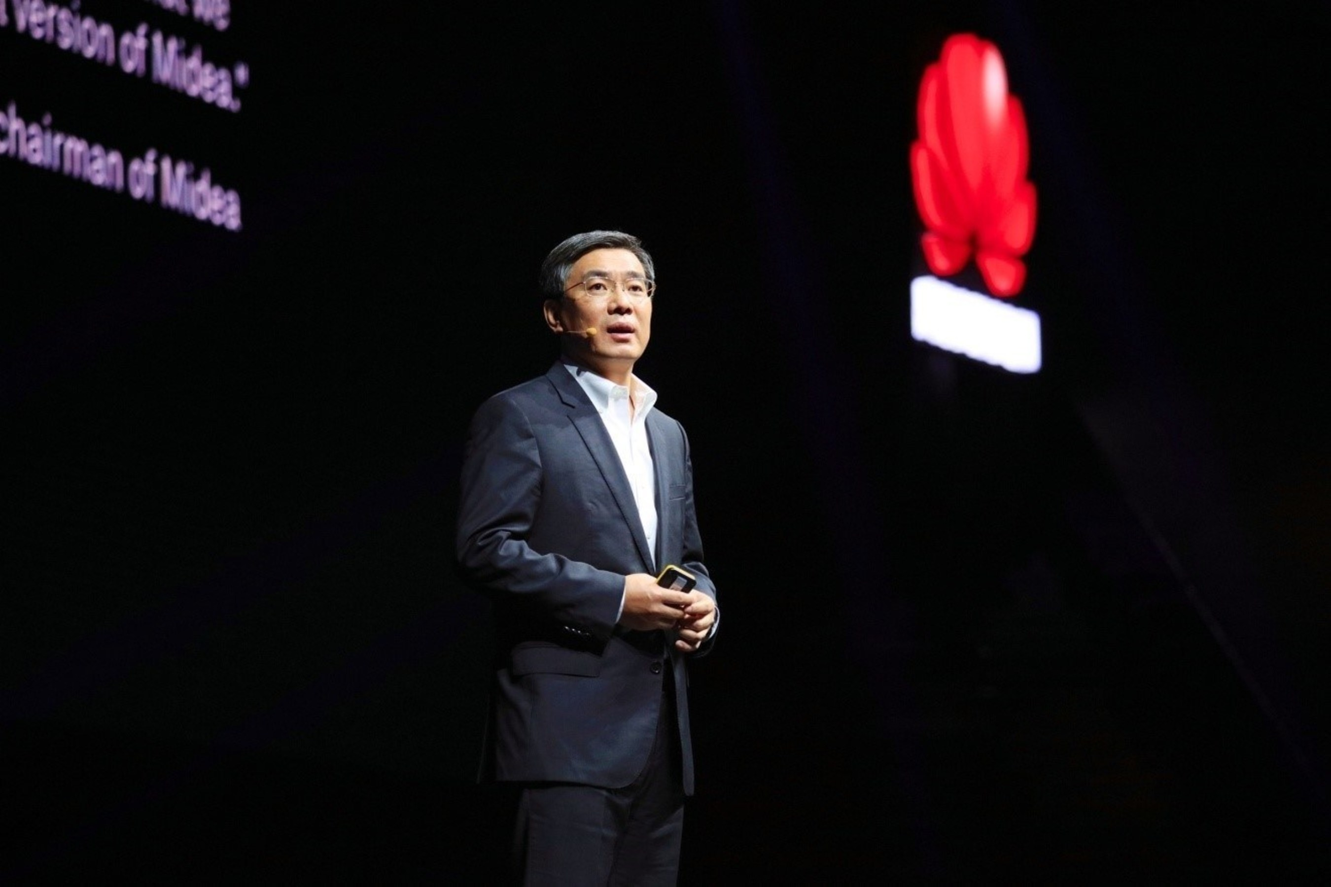 "Yan Lida, president of Huawei Enterprise BG, delivers a keynote speech titled ""Reinventing Business with Industry Clouds"""
