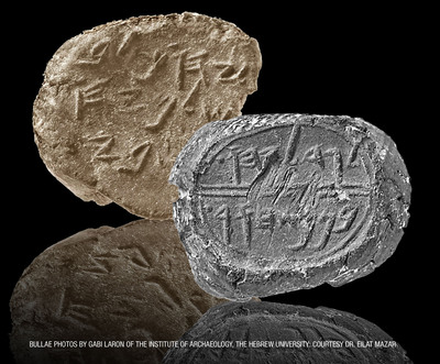Clay seals, called bullae, from the time of the prophet Jeremiah.  (PRNewsFoto/Armstrong International Cultural Foundation)