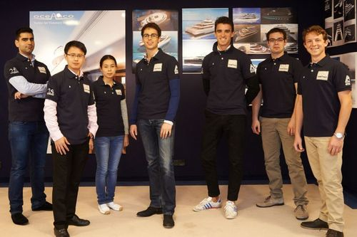 "Oceanco, the sponsor of the annual ""Young Designer of the Year"" Award, a ShowBoats Design Awards competition, hosted the six finalists who had competed for the coveted trophy.The international group of young designers: Lujac Desautel, Dennis Dreier, Graham Kukla, Raphaël Laloux, Jiantao Zhu, and Daniel Zoghby (PRNewsFoto/Oceanco)"