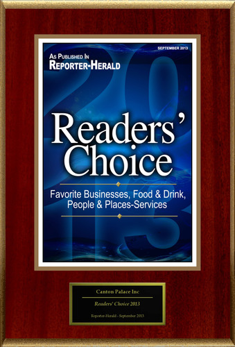 """Canton Palace Inc Selected For """"Readers' Choice 2013"""". (PRNewsFoto/Canton Palace Inc) (PRNewsFoto/CANTON PALACE INC)"""