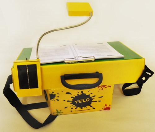 The YELO school bag transforms into a school desk with a single fold technique. (PRNewsFoto/Prayas Innovation Pvt. Ltd.) (PRNewsFoto/Prayas Innovation Pvt. Ltd.)