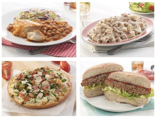 Nutrisystem introduces (clockwise) Chicken and BBQ Beans, Turkey Sausage and Bacon Rigatoni, Meatloaf Sandwich and Chicken and Bacon Ranch Pizza to its robust dinner menu. (PRNewsFoto/Nutrisystem, Inc.)