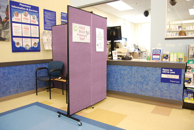 Flu Season Pharmacy Privacy Screens. (PRNewsFoto/Screenflex Portable Room Dividers) (PRNewsFoto/SCREENFLEX PORTABLE ROOM DIV___)
