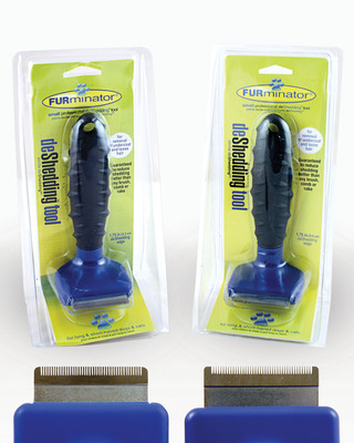 According to FURminator officials, unsuspecting consumers are getting ripped off by sellers peddling cheap counterfeit products online. The counterfeit tool is pictured on the left. The authentic FURminator deShedding Tool is pictured on the right.  (PRNewsFoto/FURminator Inc.)