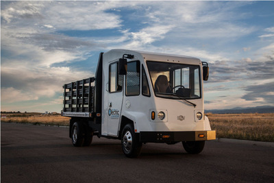 Boulder EV is currently in production on four different models including a box truck, delivery van, flatbed work truck (shown here), and service body truck. Each model can be equipped with the V2G package. (PRNewsFoto/Boulder Electric Vehicle)