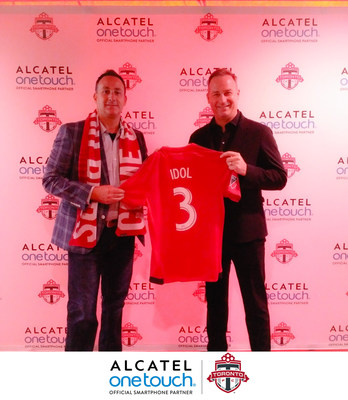 Steve Cistulli, Senior Vice President & General Manager of North America for ALCATEL ONETOUCH and Dave Hopkinson, Chief Commercial Officer for MLSE, introduce ALCATEL ONETOUCH as the Official Smartphone Partner of Toronto FC at an exclusive IDOL 3 launch party at BMO Field on Saturday, June 20, 2015.