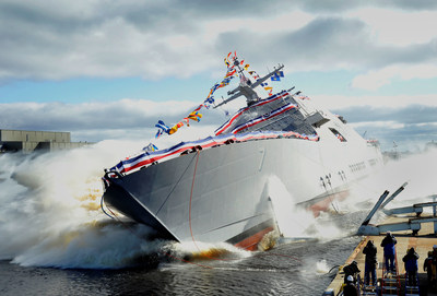 The seventh littoral combat ship, the future USS Detroit, was christened and launched into the Menominee River in Marinette, Wisconsin. Ship sponsor Mrs. Barbara Levin officially christened the ship by smashing a bottle of champagne across the bow.