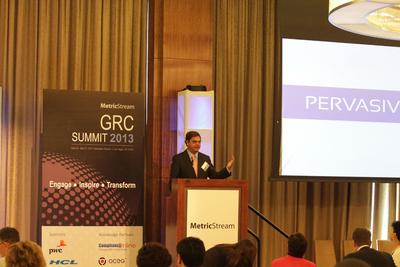Gunjan Sinha, Executive Chairman, MetricStream, during his keynote 'The Future -- Pervasive GRC'.  (PRNewsFoto/MetricStream)