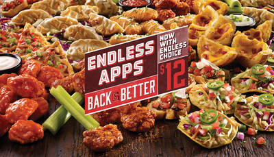 If following up your Mozzarella Sticks with Boneless Buffalo Wings, Spicy Chicken Tostadas and finishing with Loaded Potato Skins makes you happy, TGI Fridays is happy to keep the appetizers coming.  Fridays blew the world away when it gave guests Endless Appetizers, and now they're one-upping that offer across the nation by giving guests Endless Choice - which means they can start with one appetizer from a list of favorites and then change to another with unlimited refills - for just $12.