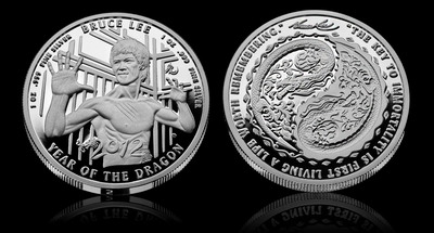 Bruce Lee Year of the Dragon Silver Proof Round.  (PRNewsFoto/ThumbsUpSilver.com)