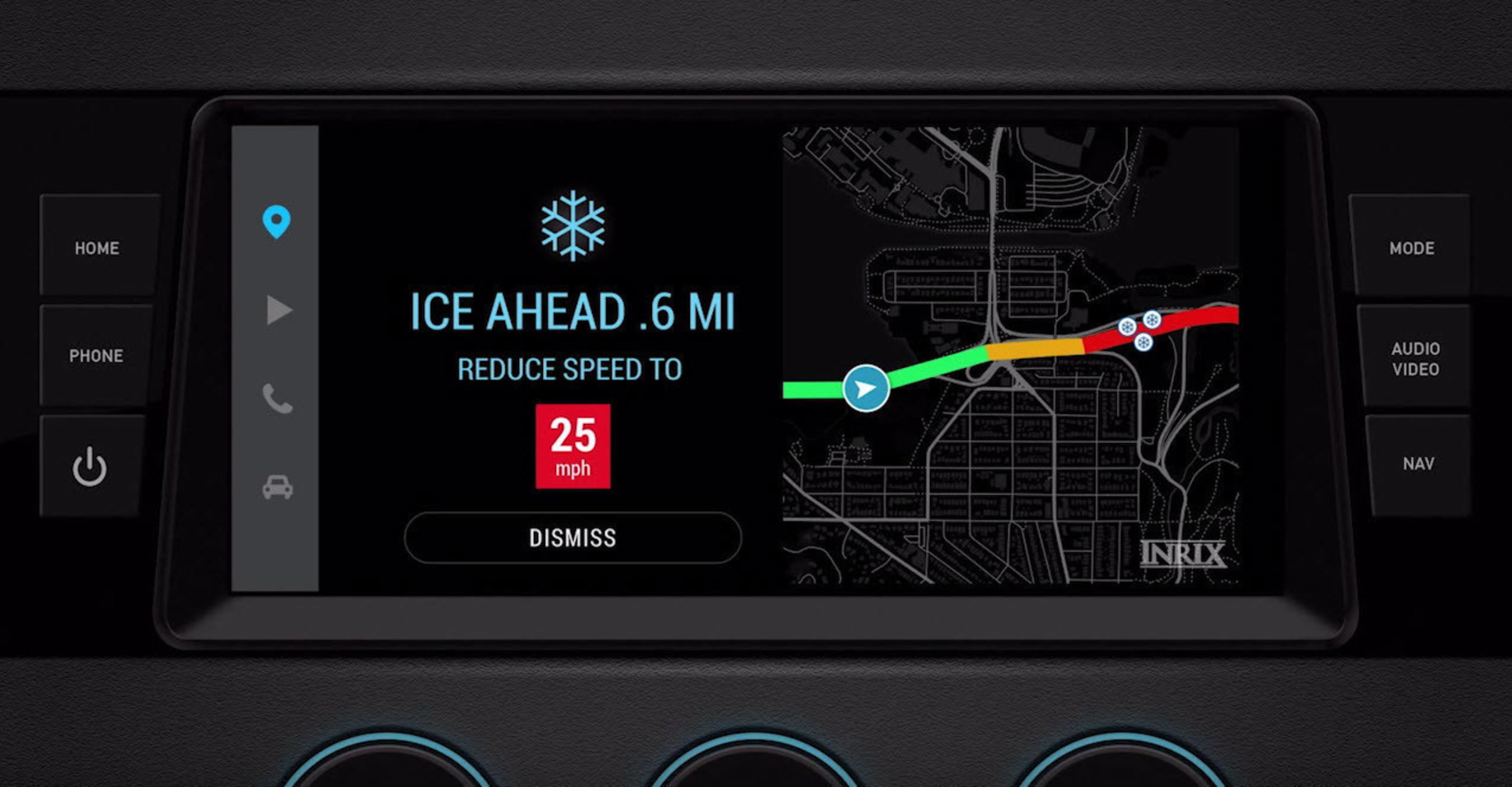 INRIX Road Weather provides critical information on road conditions, including type of precipitation, surface conditions and visibility, among others. It is the first system to use real-time data from connected vehicles to alert other drivers of ...
