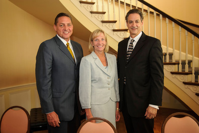 Philips Healthcare Americas President Steve Laczynski, Philips Healthcare CEO Deborah DiSanzo and Georgia Regents Medical Center CEO David S. Hefner pose for a photo following the signing of a contract announcing an alliance with the Georgia Regents Medical Center at the The Pinnacle Club on Thursday, June 27, 2013, in Augusta, Georgia. The agreement, worth approximately 300 million, is the largest of its kind for Philips and the a first of its kind healthcare delivery model in the United States. (Paul Abell/AP Images for Philips Healthcare).