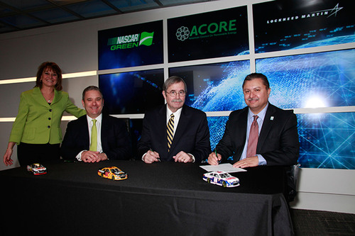 From Lockheed Martin Global Vision Center, NASCAR and ACORE announce an official green partnership.  (PRNewsFoto/Lockheed Martin Corporation)