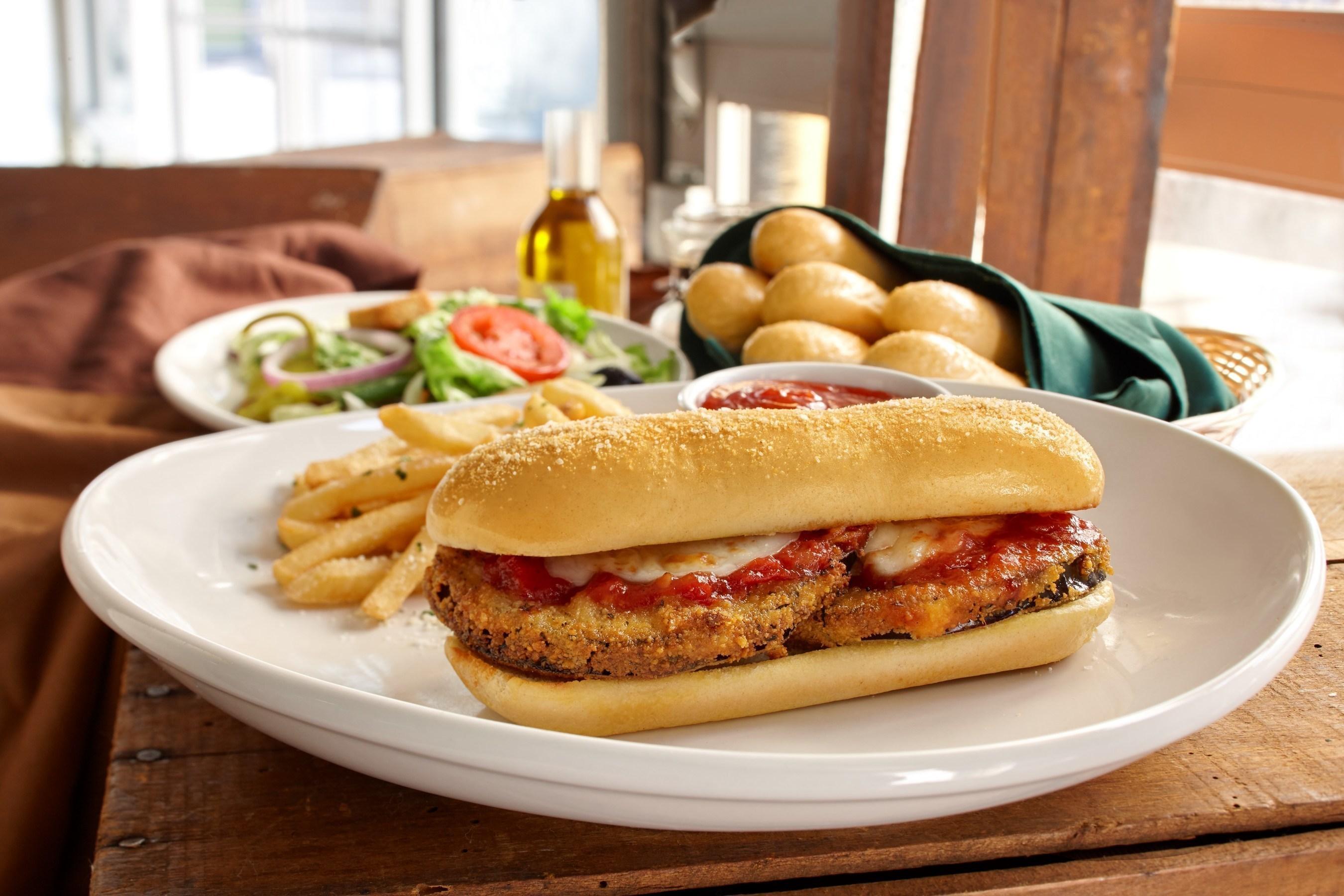 Olive Garden Eggplant Parmigiana Breadstick Sandwich