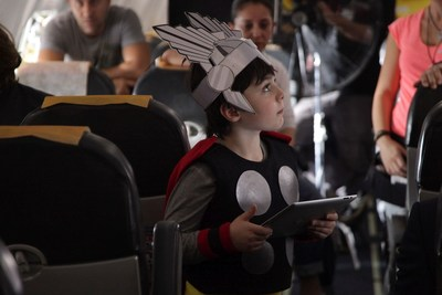 "The young actor says: "" I felt myself a superhero when I was next to the other actors dressed up as Marvel characters"" (PRNewsFoto/Pegasus Airlines) (PRNewsFoto/Pegasus Airlines)"