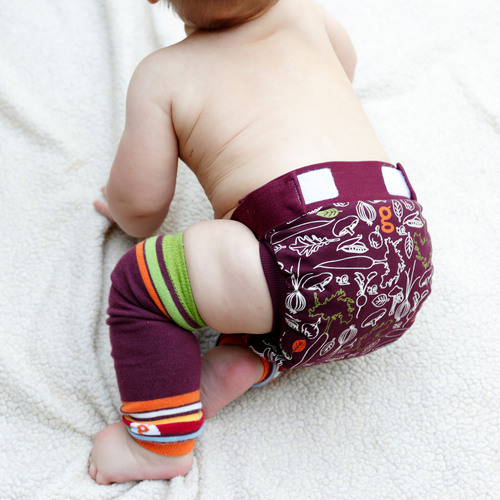 gDiapers: A company dedicated to eliminating conventional disposable diapers from the planet. The new gVeggie gPant pictured here with coordinating gLegs.  (PRNewsFoto/gDiapers)