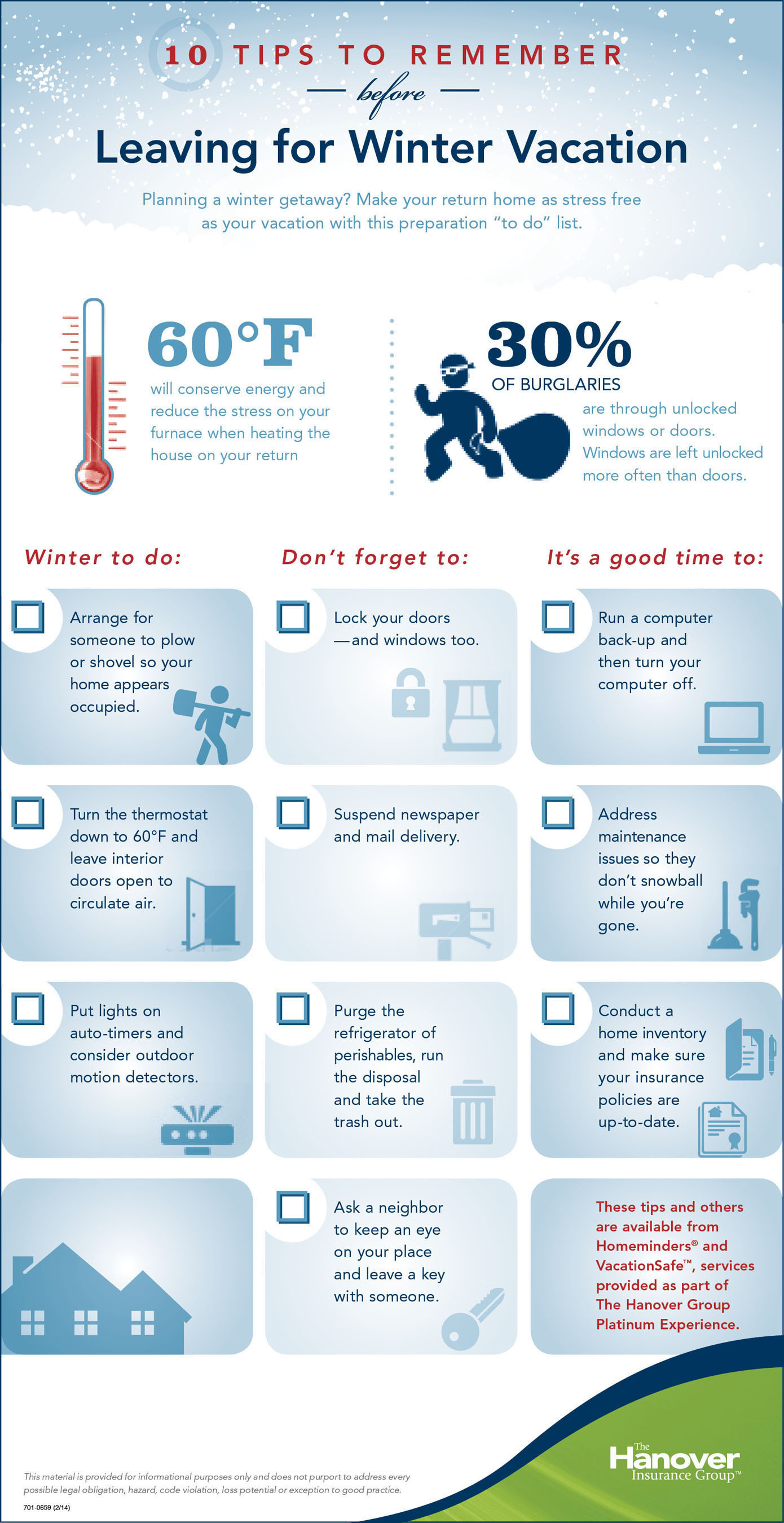 10 Winter Vacation Tips to Get Your Home Ready Before You Get Away. (PRNewsFoto/The Hanover Insurance Group, ...