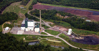 Aerial shot of Piney Creek Power Plant in Clarion, PA offered for immediate turnkey sale for limited time. State of the art 32 MW (net) generating plant that closed in 2013. Otherwise, will go to auction February 20.  (PRNewsFoto/Stuart B. Millner & Associates)