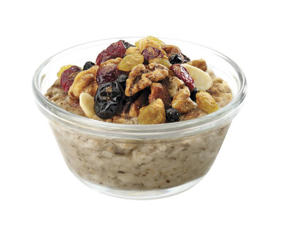Starting Monday, July 25, Chick-fil-A will introduce Multigrain Oatmeal to its menu. Customers can choose one of three toppings, including cinnamon brown sugar, roasted mixed nuts (almonds, pecans and walnuts) or a dried fruit blend (cranberries, blueberries, golden raisins and cherries). A serving of oatmeal contains 120 calories and 2.5 grams of fat without toppings and up to 290 calories and 11 grams of fat with the addition of toppings, all with no trans fat.  (PRNewsFoto/Chick-fil-A, Inc.)