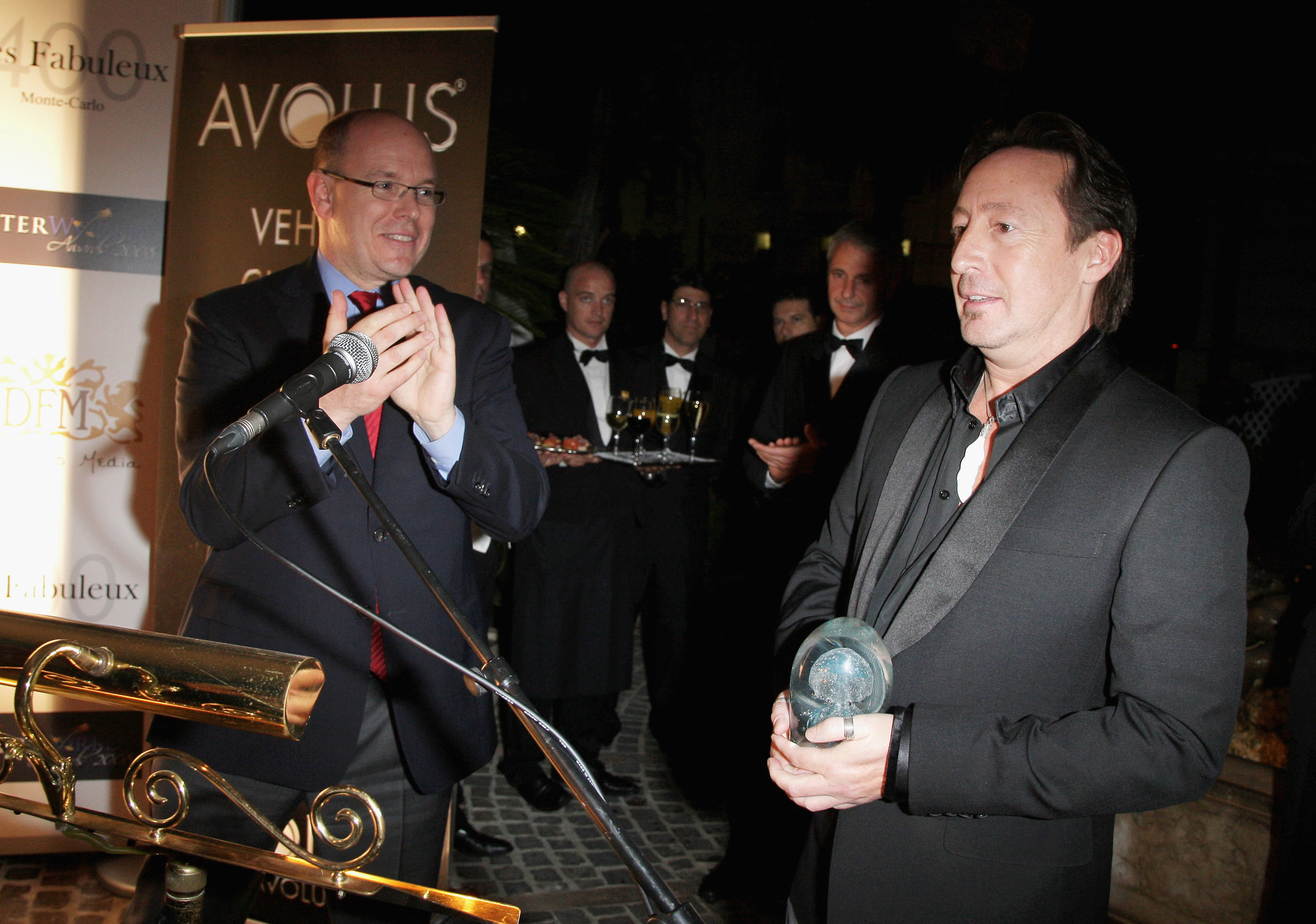 Prior year photo: HSH Prince Albert II of Monaco giving Julian Lennon the Environmental Award at the Better World Awards held at the Hotel De Paris.