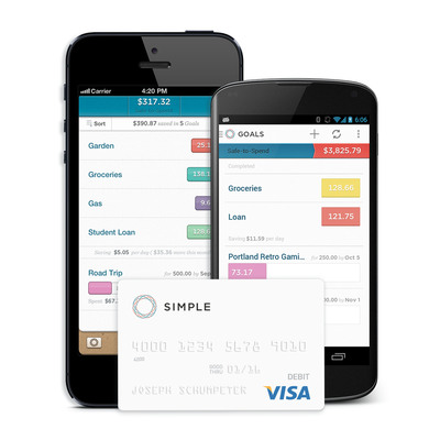 Simple's customers receive the Simple Visa(R) card, powerful web, iOS, and Android apps, integrated savings tools, and real customer service.    (PRNewsFoto/Simple)