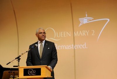 Arnold Donald, CEO, Carnival Corporation, the parent company of Cunard, speaks about the remastered Queen Mary 2, Wednesday, July 6, 2016, at Brooklyn Cruise Terminal in New York, its U.S. homeport. (Diane Bondareff/AP Images for Cunard)
